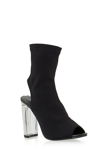 Clear Heel Peep Toe Bootie,BLACK,large