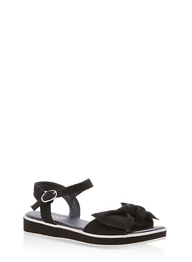 Bow Strap Low Platform Sandals,BLACK F/S,large