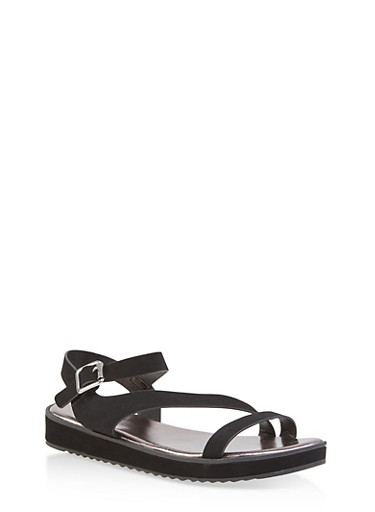 Asymmetrical Strap Platform Sandals,BLACK,large