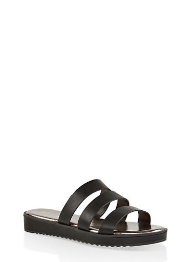 Triple Band Slide Sandals | 1110004062382,BLACK,large