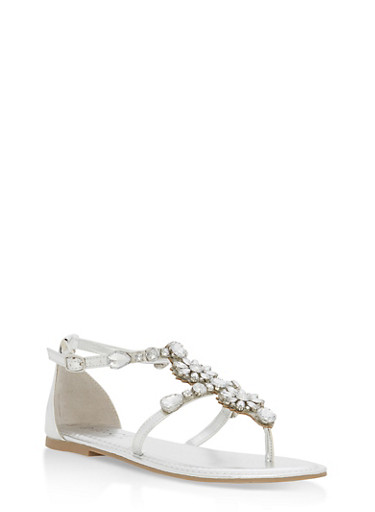 Rhinestone Ankle Strap Thong Sandals,SILVER MWP,large