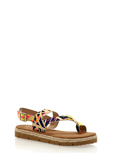 Asymmetrical Flat Sandals with Toe Ring,NEON PINK,large