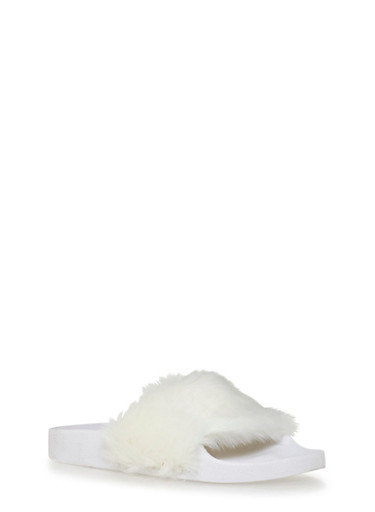 Slide Sandals with Faux Fur Strap,WHITE,large