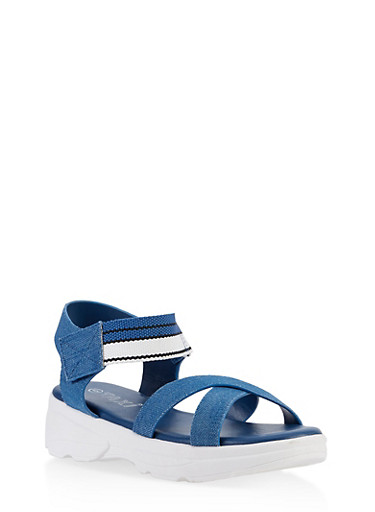 Striped Velcro Strap Sporty Sandals,DENIM,large