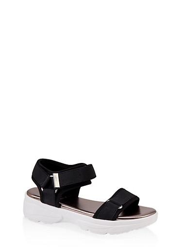 Elastic Band Sporty Sandals,BLACK,large