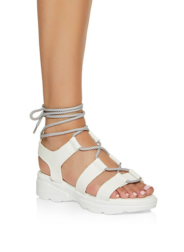 Lace Up Sporty Platform Sandals,WHITE,large