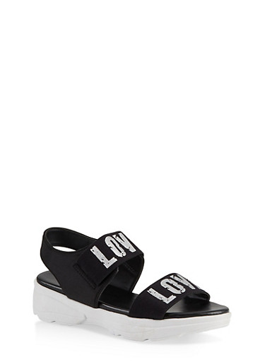 Sporty Love Band Sandals,SILVER,large