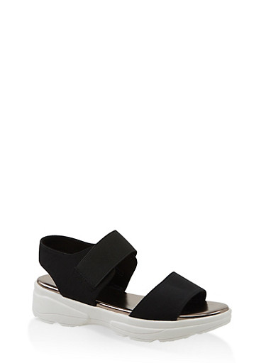 Double Band Sporty Sandals,BLACK,large