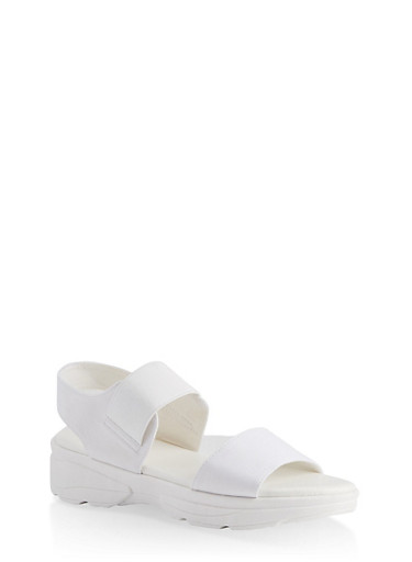 Double Band Sporty Sandals,WHITE,large