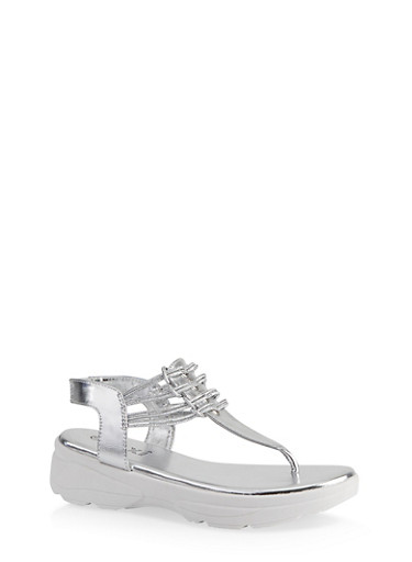 Sporty Corded Thong Sandals,SILVER,large