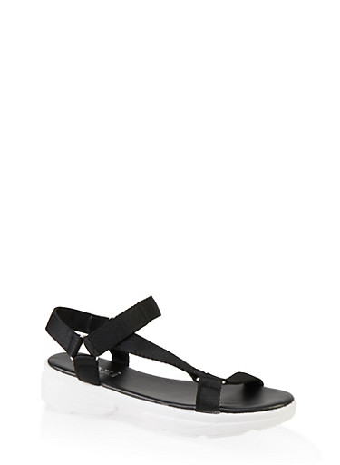 Velcro Strap Sporty Sandals,BLACK,large