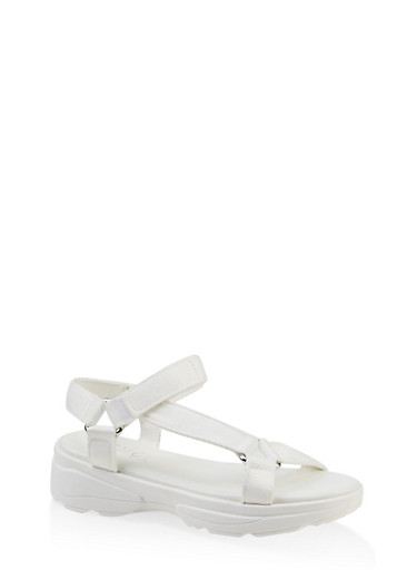 Velcro Strap Sporty Sandals,WHITE,large