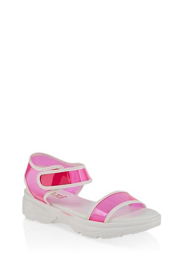 Two Band Platform Sandals,NEON PINK,large