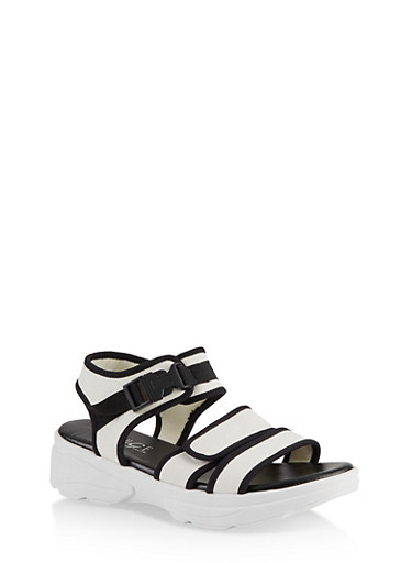 Contrast Trim Sporty Platform Sandals,WHITE,large