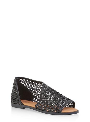 Woven Open Toe Sandals,BLACK,large