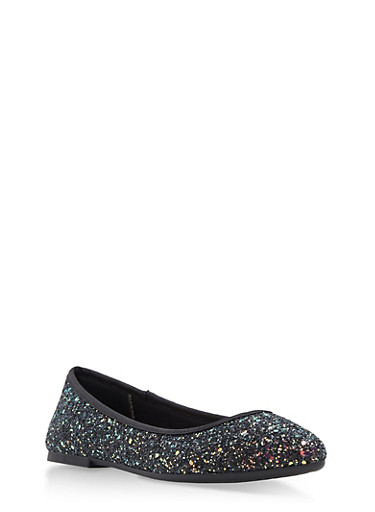 Pointed Toe Skimmer Flats,BLACK GLITTER,large