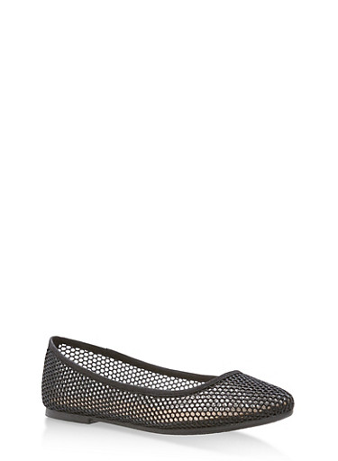 Pointed Toe Glitter Mesh Ballerina Flats,BLACK MESH,large