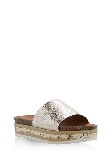 Single Strap Glitter Wedge Sandals | Tuggl