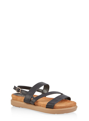 Strappy Memory Foam Sandals | 1110004065454,BLACK,large