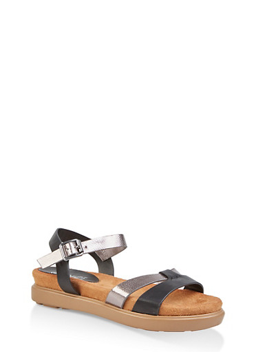 Two Tone Footbed Ankle Strap Sandals,BLACK,large