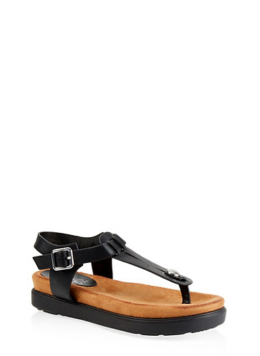 Cut Out Thong Footbed Sandals,BLACK,large