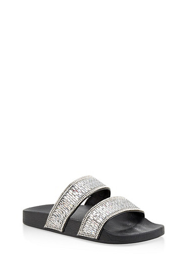 Rhinestone Studded Double Band Slides,BLACK,large