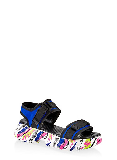 Two Band Sporty Platform Sandals,ELECTRIC BLUE,large