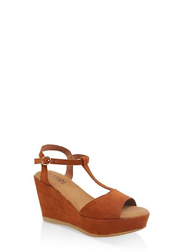 T Strap Platform Wedge Sandals,CHESTNUT,large