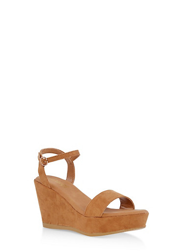 Faux Suede Ankle Strap Wedge Sandals,TAN,large