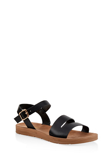 Asymmetrical Strap Sandals,BLACK,large