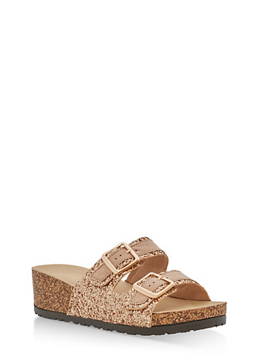 Double Strap Glitter Footbed Wedge Sandals,ROSE GOLD GLITTER,large