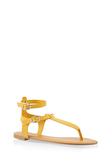 Ankle Strap Thong Sandals,YELLOW,large