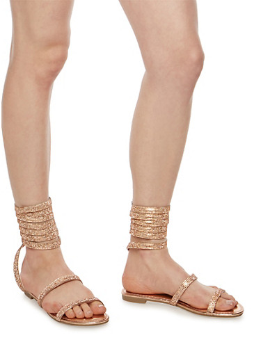 Coiled Rhinestone Studded Sandals,ROSE GOLD MWP,large