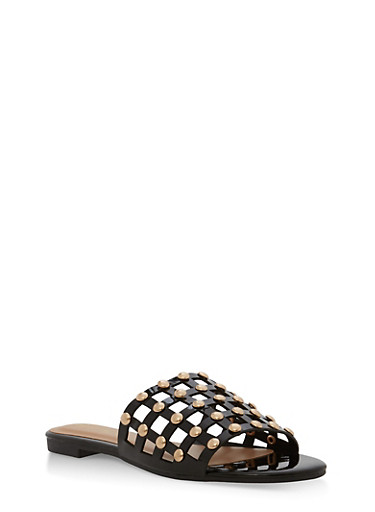 Faux Patent Leather Studded Slide Sandals,BLACK PATENT,large