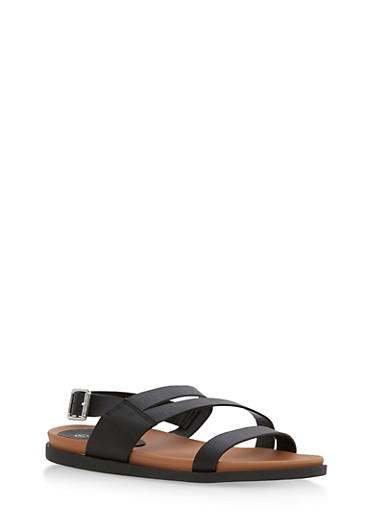 Asymmetrical Strap Sling Back Sandals,BLACK BNH,large