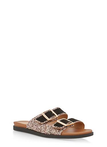 Double Buckle Glitter Slide Sandals,BLACK BLUSH,large