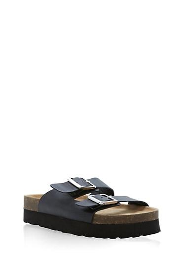 Double Buckle Slide Sandals,BLACK BNH,large