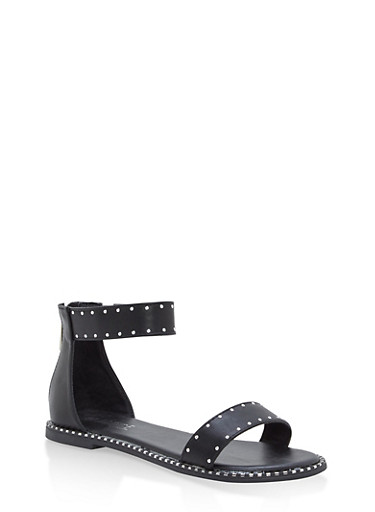 Studded Ankle Strap Sandals,BLACK BNH,large