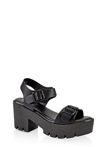 Double Buckle Chunky Platform Sandals,BLACK,large
