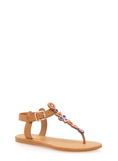 Aztec Beaded Thong Sandals,NATURAL,large