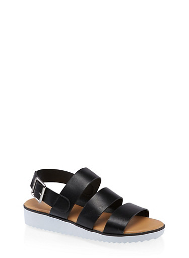 3 Band Buckle Sandals,BLACK,large