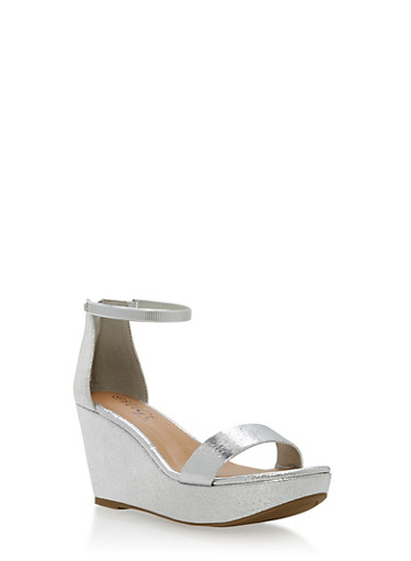 Metal Strap Wedge Sandals,SILVER CMF,large