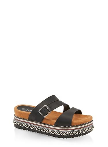 Strappy Platform Slide Sandals,BLACK,large