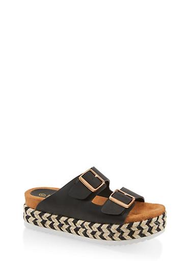 Double Strap Platform Sandals,BLACK,large