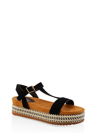 T Strap Platform Sandals,BLACK,large
