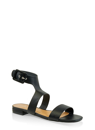 Two Band Ankle Strap Sandals,BLACK,large
