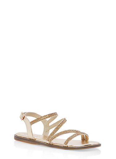Strappy Rhinestone Flat Sandals,GOLD MPU,large