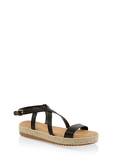 Criss Cross Ankle Strap Espadrille Sandals,BLACK,large