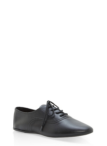 Lace Up Pointed Toe Oxfords,BLACK CRP,large