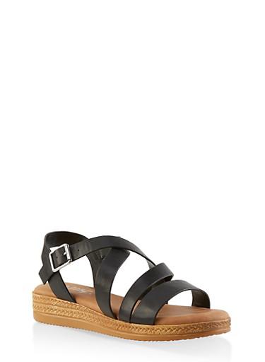 Strappy Platform Sandals,BLACK,large